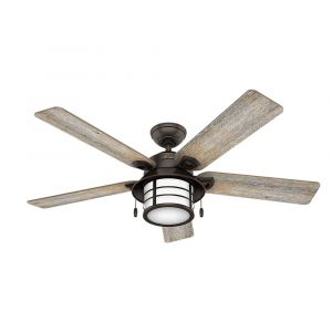 "Hunter Key Biscayne 54"" Outdoor Ceiling Fan in Onyx Bengal"