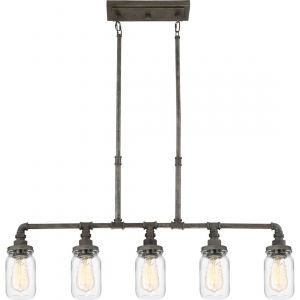 "Quoizel Squire 38"" 5-Light Island Light in Rustic Black"
