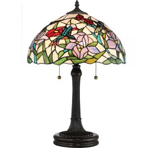 """Quoizel Tiffany 23"""" 2-Light Tiffany Glass Table Lamp in Vintage Bronze"""