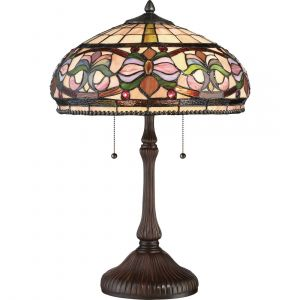 """Quoizel Tiffany 23.25"""" 2-Light Tiffany Glass Table Lamp in Russet"""