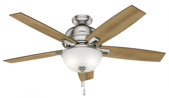 "Hunter Donegan Bowl 52"" LED Indoor Ceiling Fan in Nickel/Chrome"
