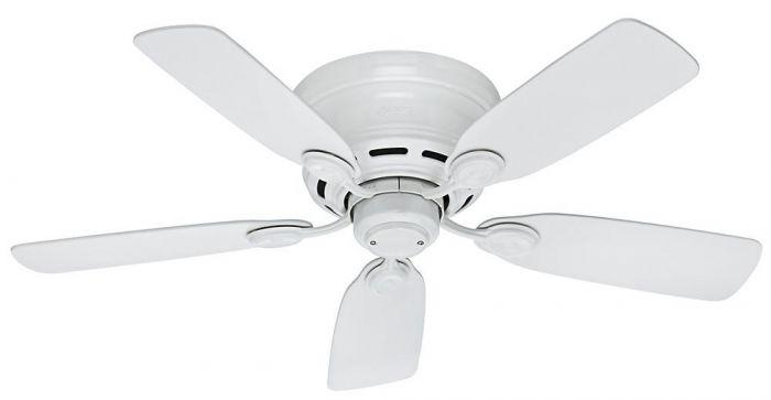 "Hunter Low Profile IV 42"" Ceiling Fan in White Finish"