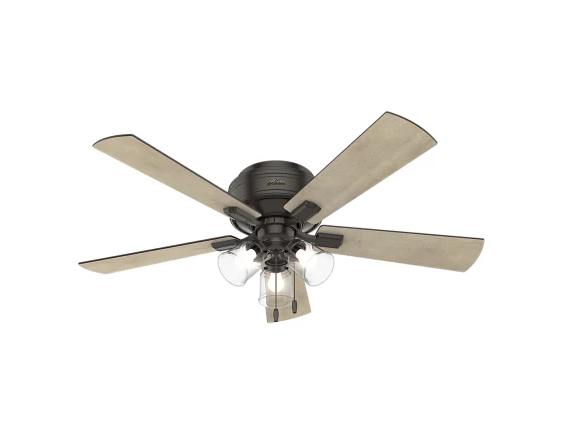 "Hunter Crestfield 52"" Hugger 3-Light Ceiling Fan in Noble Bronze"