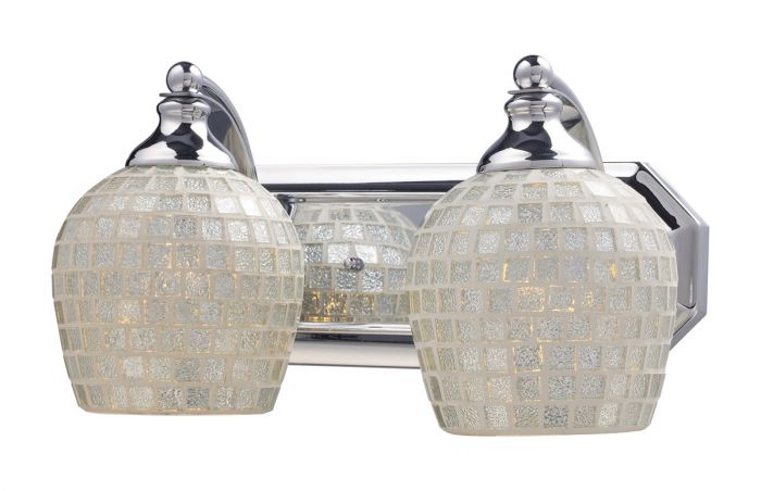 "Rectangular Over Mirror Light In Matt Nickel Or Polished Chrome: ELK Mix And Match 2-Light 14"" Bathroom Vanity Light In"