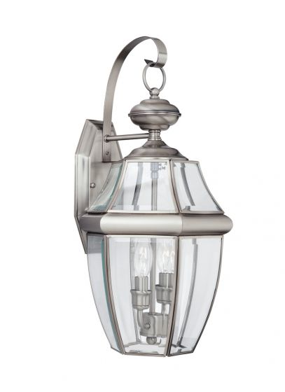 Sea Gull Lighting Lancaster 2-Light Outdoor Wall Lantern in Antique Brushed Nickel