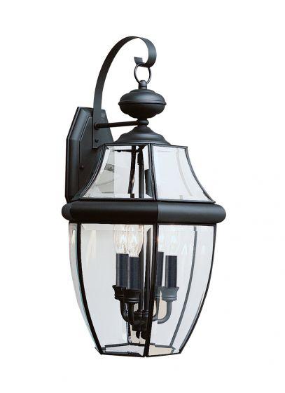 Sea Gull Lighting Lancaster 3-Light Outdoor Wall Lantern in Black