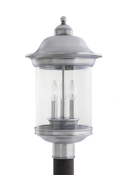 Sea Gull Lighting Hermitage 3-Light Outdoor Post Lantern in Antique Brushed Nickel