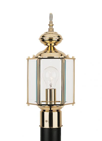 Sea Gull Lighting Classico 1-Light Outdoor Post Lantern in Polished Brass