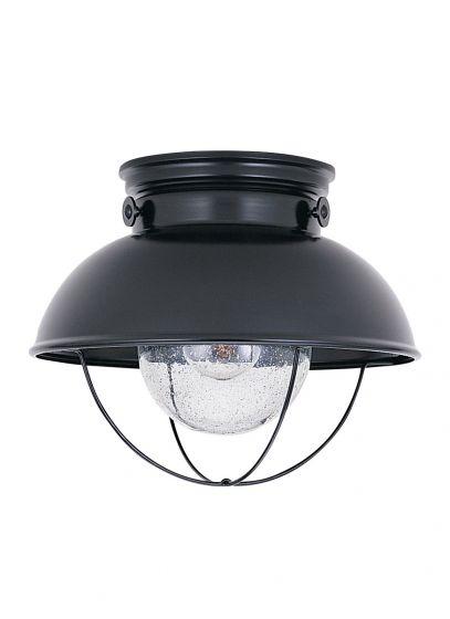 Sea Gull Lighting Sebring 1-Light Outdoor Ceiling Flush Mount in Black