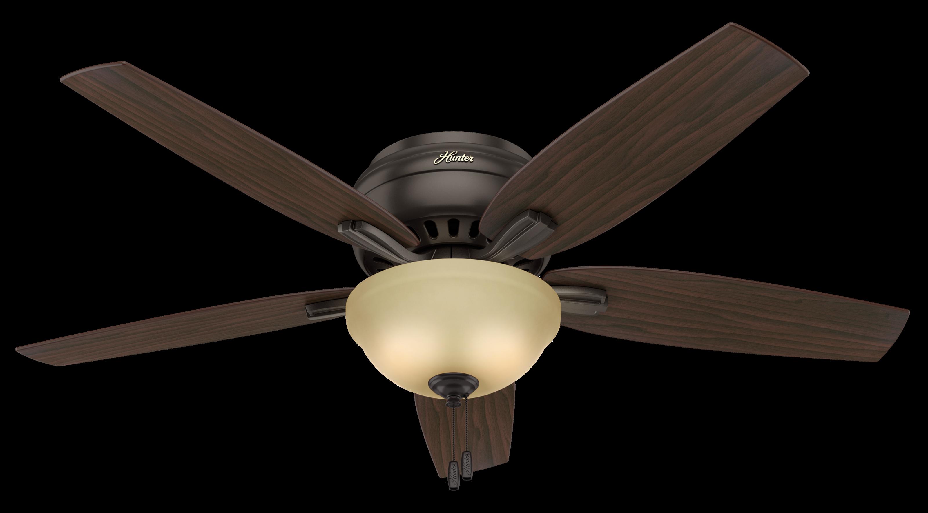 "Hunter Newsome Low Profile 2-Light 52"" Indoor Ceiling Fan in Premier Bronze"