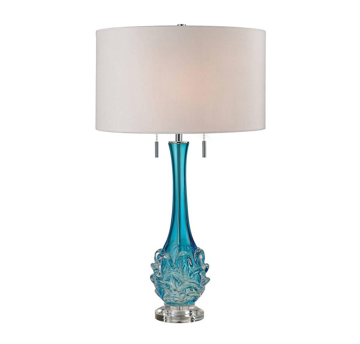 Dimond Vignola 28 Blown Glass Table Lamp in Blue w/White Shade