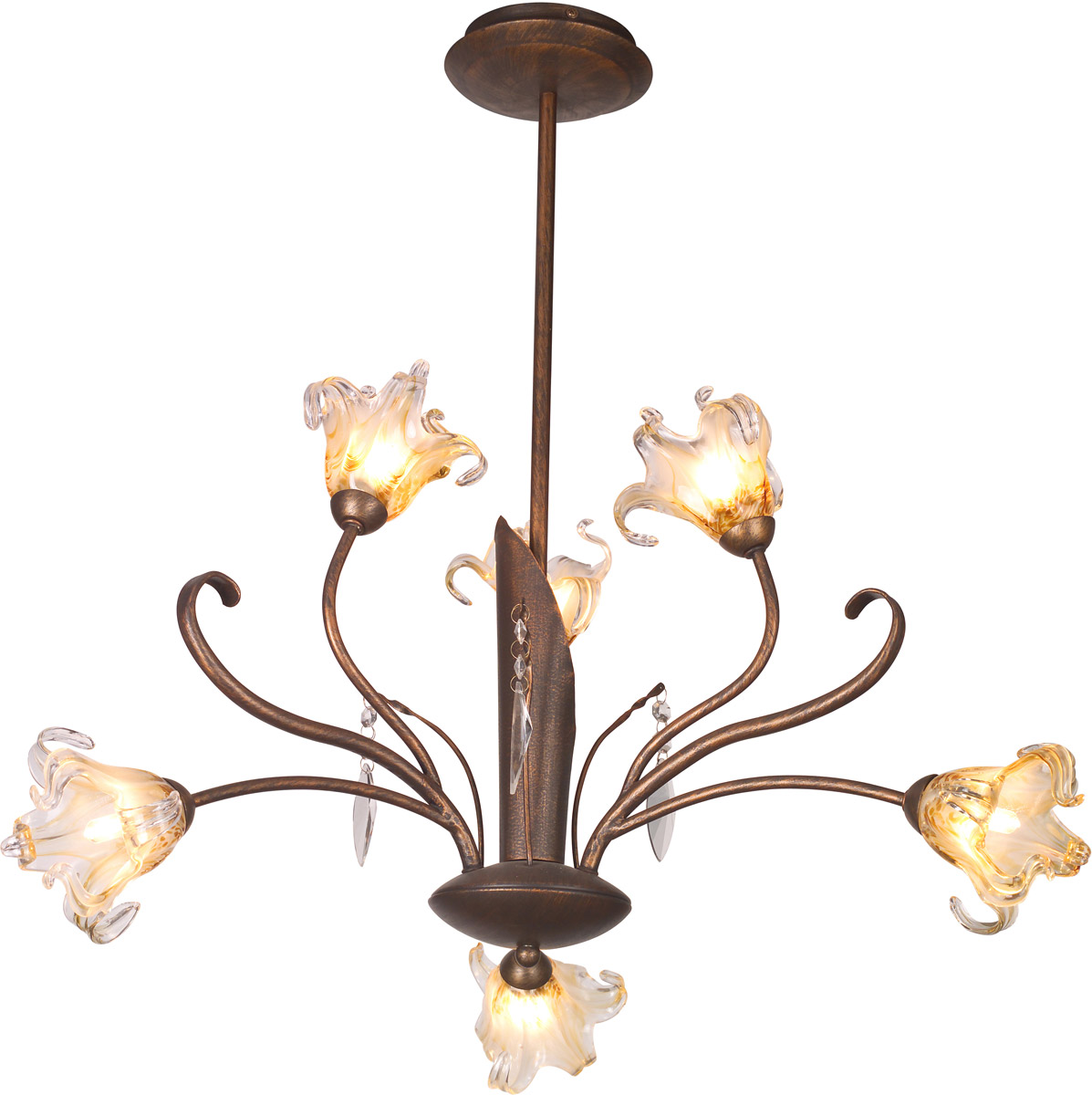 ET2 Bloom 6-Light Up Chandeliers, Antique Bronze