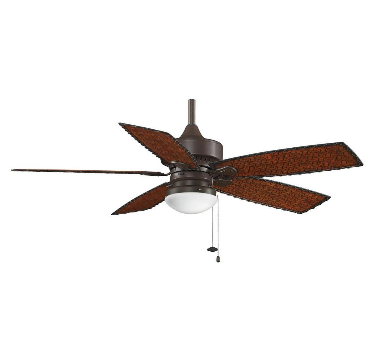 Fanimation 52 Cancun Outdoor Ceiling Fan in Bronze w/Woven Bamboo Blades