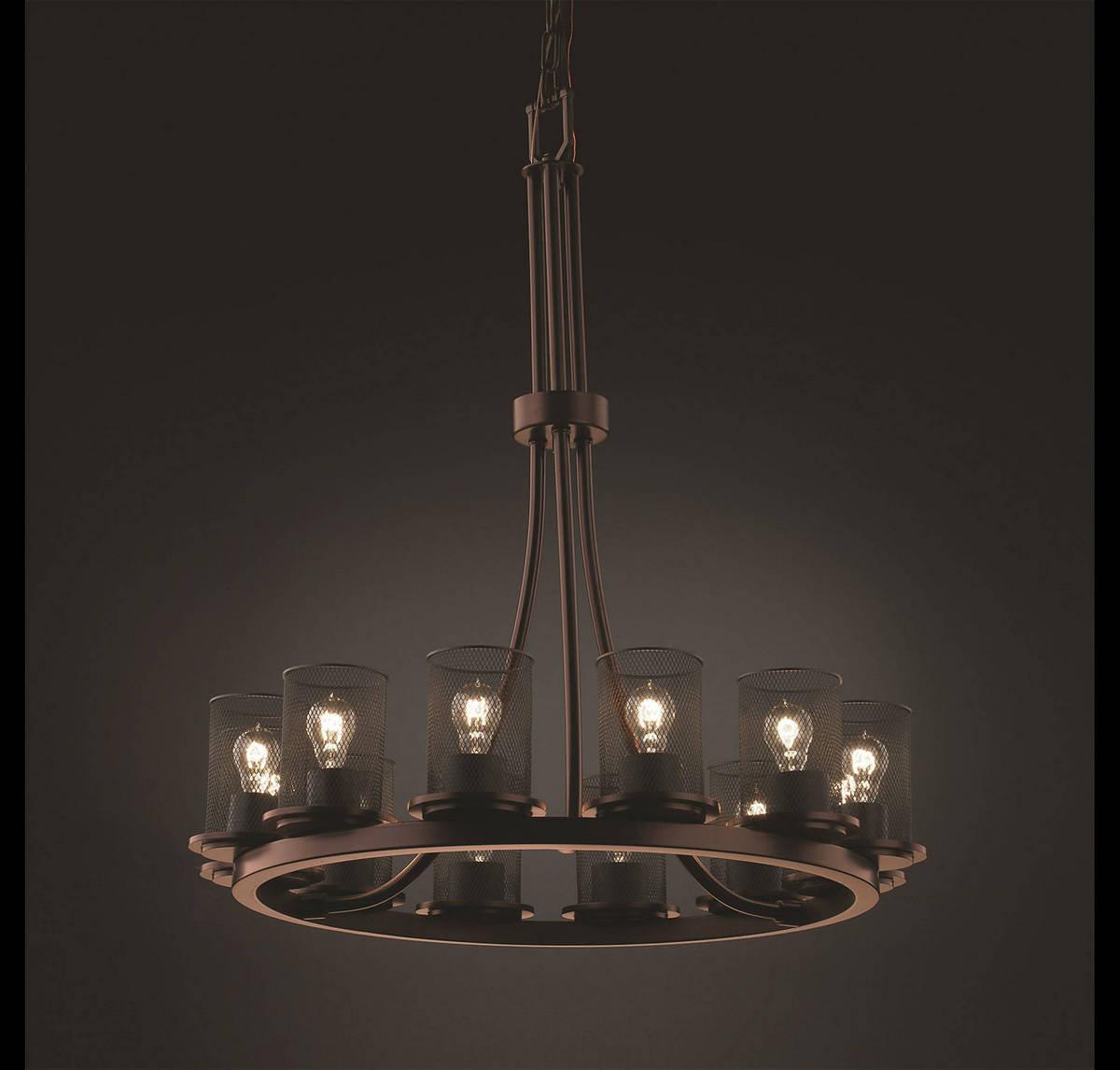 Justice Design Dakota 12-Light Ring Tall Chandelier in Dark Bronze