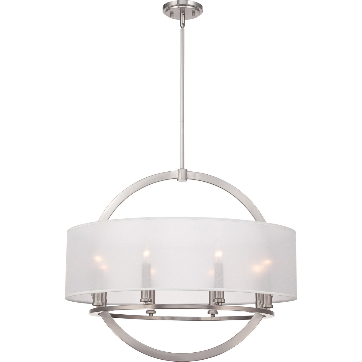 Quoizel Portland 8-Light Drum Pendant in Brushed Nickel