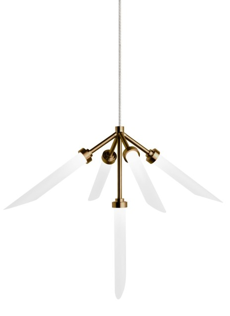 Tech Spur 5-Light Frost Glass 2-Circuit MonoRail Pendant in Aged Brass