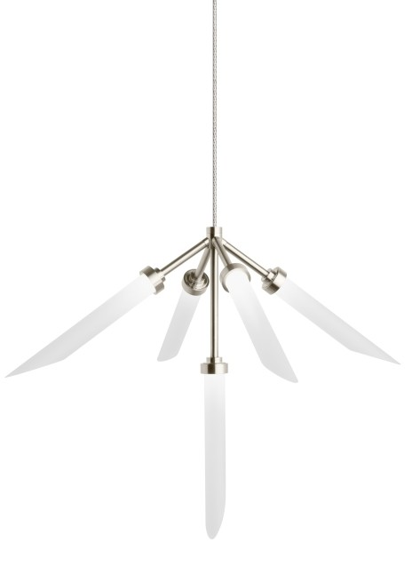 Tech Spur 5-Light 2700K Frost 2-Circuit MonoRail Pendant in Satin Nickel