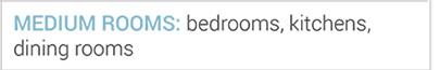 Medium rooms: bedrooms, kitchens, dining rooms