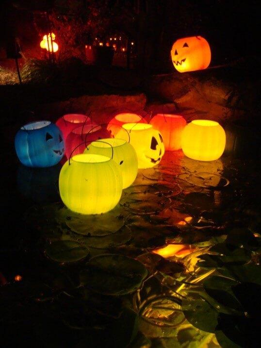 Put LED tealights in plastic jack-o-lantern buckets if you have a pond! More at LightsOnline.com Blog
