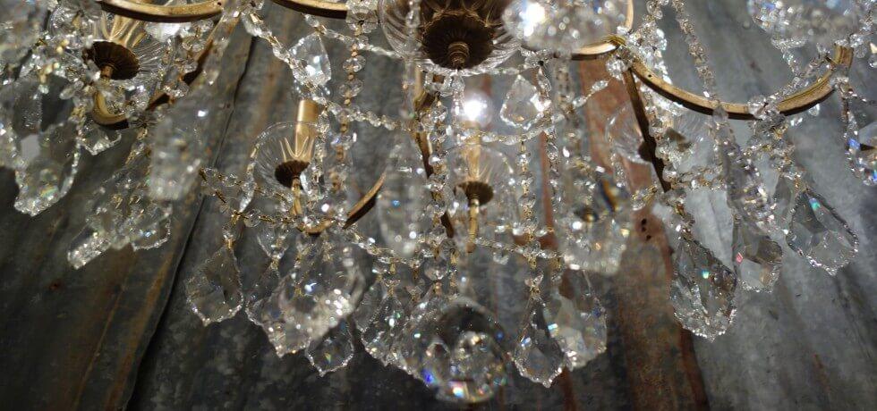 Closeup of a crystal chandelier - LightsOnline.com