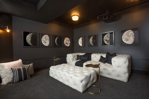 Use Simple Stylish Flush Mount Lights To Get This Media Room Look Photo Credit