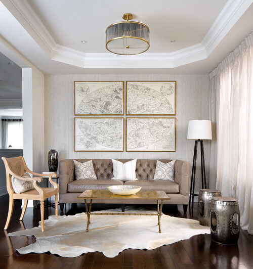 Use a semi-flush mount light to get this utterly glamorous look. Photo credit: Contemporary Living Room by Toronto Interior Designers & Decorators Toronto Interior Design Group | Yanic Simard