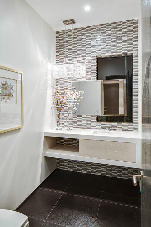 A Beautiful Crystal Linear Light Like The Schonbek Quantum Puts New Spin On Powder Room
