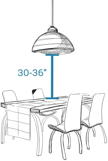 Hanging height for a pendant or chandelier over a table - LightsOnline.com