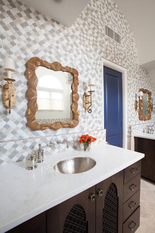 Get this look with Savoy House Varna! Photo credit: Mediterranean Bathroom by Houston Interior Designers & Decorators Laura U, Inc.