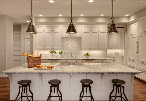 Get this lighting look with the Hudson Valley Darien! Photo credit: Transitional Kitchen by Woodinville Interior Designers & Decorators Interiors