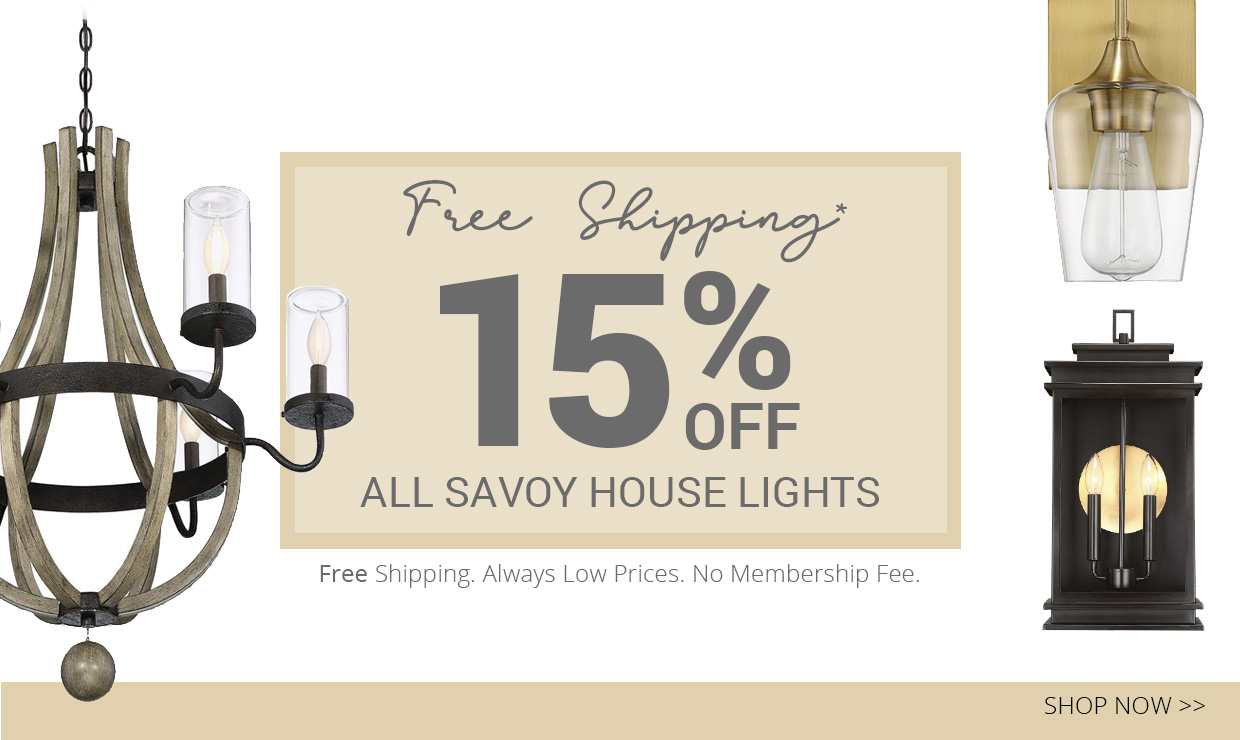Get 15% off all Savoy House lights, plus free shipping, always low prices and no membership fee