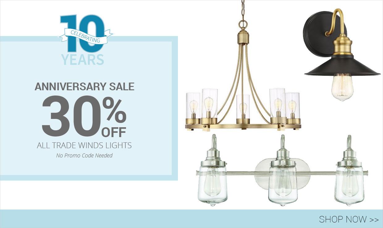 Celebrating 10 Years - Anniversary Sale - 30% Off Trade Winds Lighting